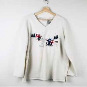 White Stag Cream Fleece Holiday Pullover Sweater
